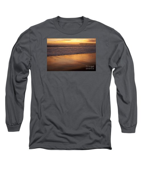 Long Sleeve T-Shirt featuring the photograph Bubbles On The Sand With Ventura Pier  by Ian Donley