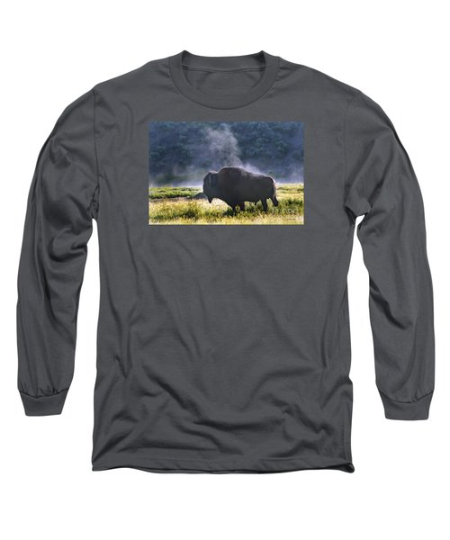Buffalo Steam-signed-#2170 Long Sleeve T-Shirt by J L Woody Wooden
