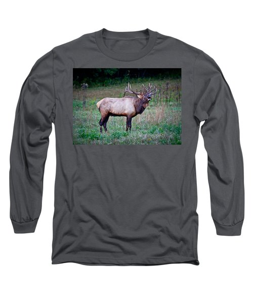 Long Sleeve T-Shirt featuring the photograph Bugle Solo From Bull Elk by John Haldane
