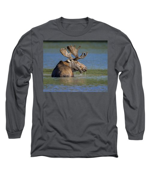 Long Sleeve T-Shirt featuring the photograph Bull Moose At Fishercap by Jack Bell
