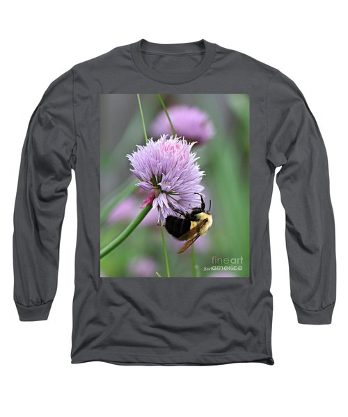 Long Sleeve T-Shirt featuring the photograph Bumblebee On Clover by Barbara McMahon