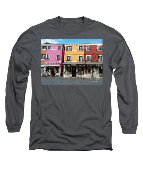 Long Sleeve T-Shirt featuring the painting Burano by Robin Maria Pedrero