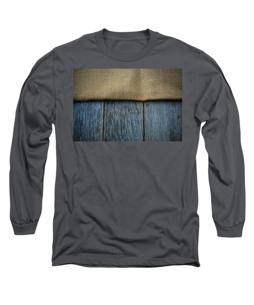Burlap Texture On Wooden Table Background Long Sleeve T-Shirt