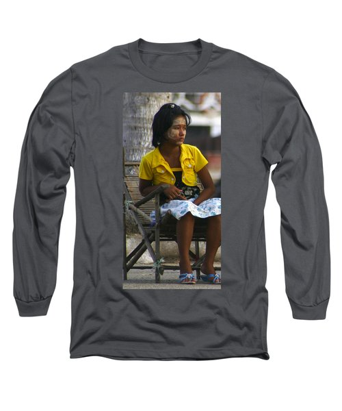 Burmese Girl With Traditional Thanaka Face Painting Sitting On Chair Yangon Myanmar Long Sleeve T-Shirt