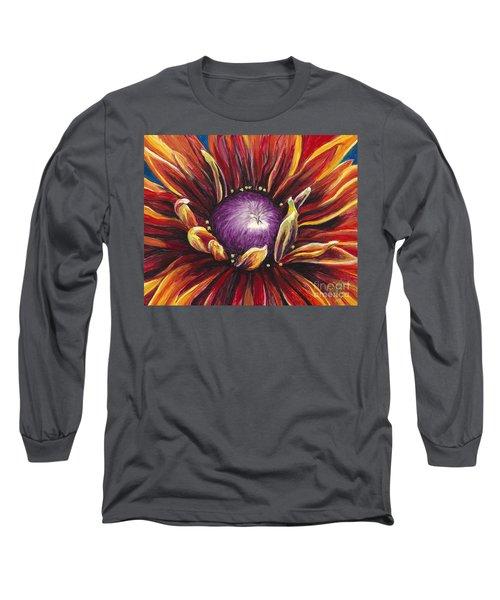 Burnt Orange Flower Long Sleeve T-Shirt