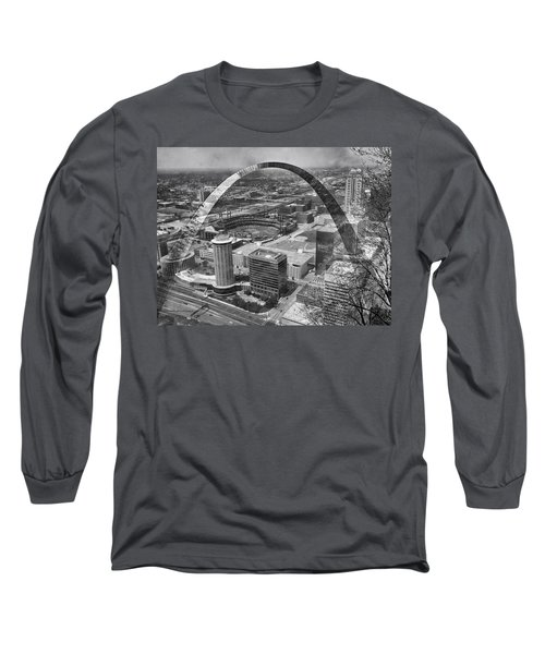 Busch Stadium Bw A View From The Arch Merged Image Long Sleeve T-Shirt