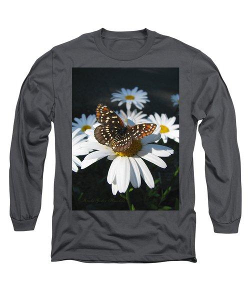 Butterfly And Shasta Daisy - My Spring Garden Long Sleeve T-Shirt by Brooks Garten Hauschild