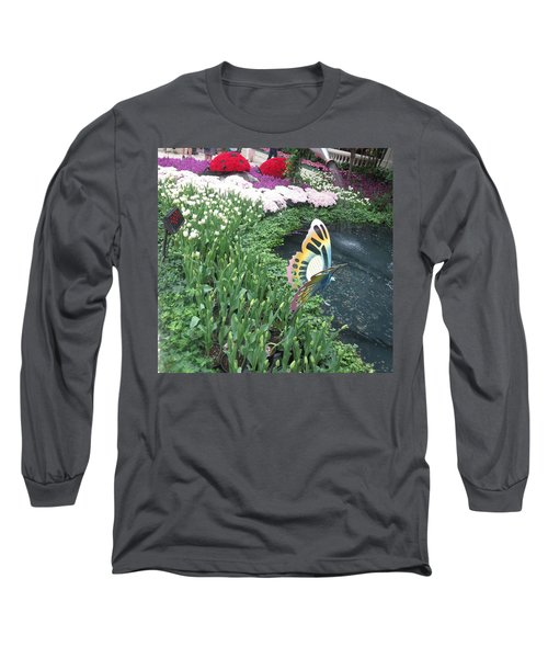 Long Sleeve T-Shirt featuring the photograph Butterfly Garden Ladybug Flowers Green Theme by Navin Joshi