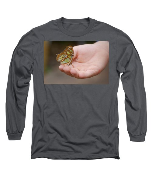 Long Sleeve T-Shirt featuring the photograph Butterfly On Hand by Leticia Latocki
