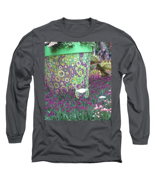 Long Sleeve T-Shirt featuring the photograph Butterfly Park Garden Painted Green Theme by Navin Joshi