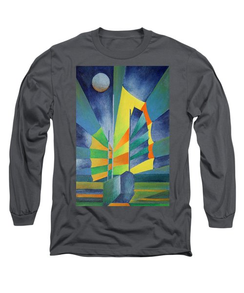 Long Sleeve T-Shirt featuring the painting By The Light Of The Silvery Moon by Tracey Harrington-Simpson