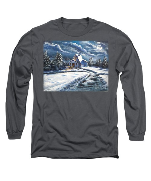 Cabin At Night Long Sleeve T-Shirt by Bozena Zajaczkowska