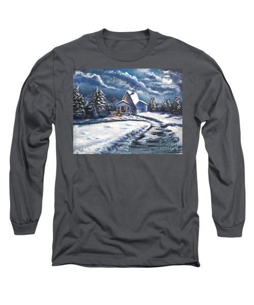 Cabin At Night Long Sleeve T-Shirt