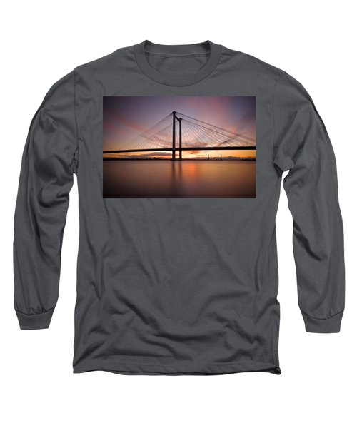 Long Sleeve T-Shirt featuring the photograph Cable Bridge by Ronda Kimbrow