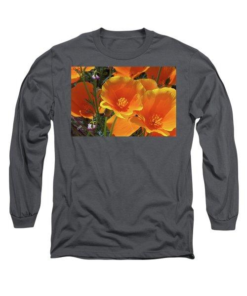 California Poppies Long Sleeve T-Shirt by Ben and Raisa Gertsberg