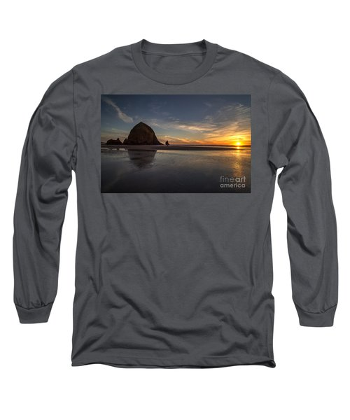 Cannon Beach Dusk Conclusion Long Sleeve T-Shirt by Mike Reid