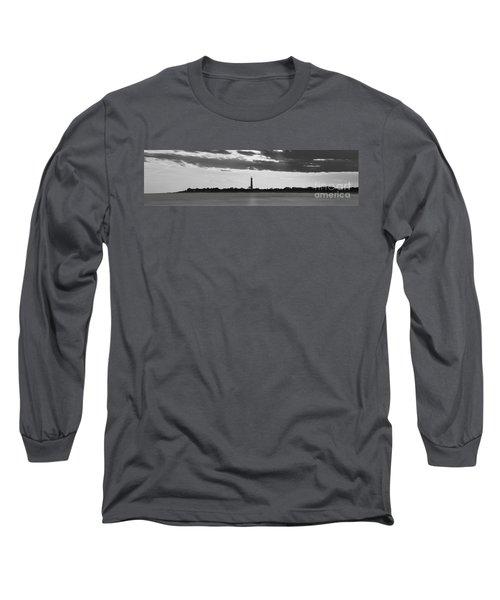 Cape May Lighthouse Sunset Panorama Bw Long Sleeve T-Shirt