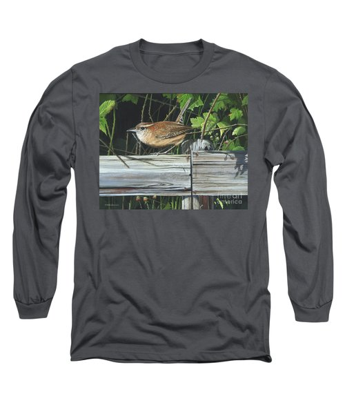 Long Sleeve T-Shirt featuring the painting Carolina Wren by Mike Brown