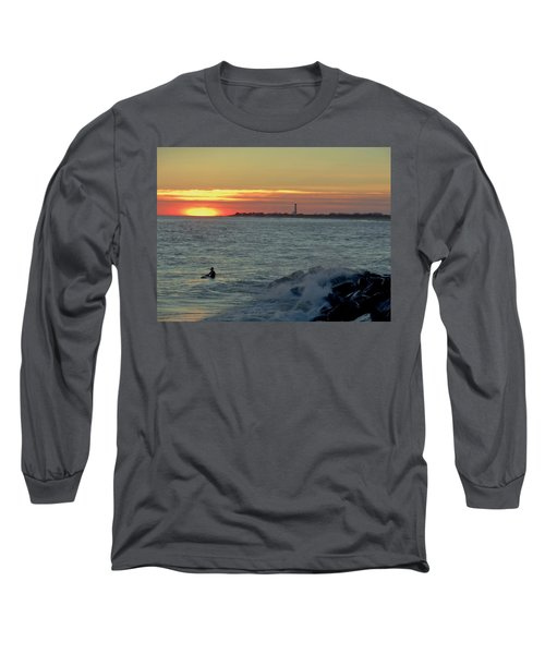 Catching A Wave At Sunset Long Sleeve T-Shirt by Ed Sweeney