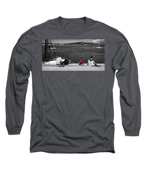 Catching Crabs In Red Long Sleeve T-Shirt by Meirion Matthias