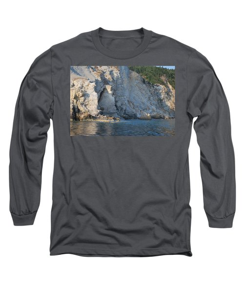 Long Sleeve T-Shirt featuring the photograph Cave By The Sea by George Katechis