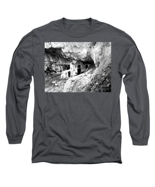 Long Sleeve T-Shirt featuring the photograph cave church on Mt Olympus Greece by Nina Ficur Feenan