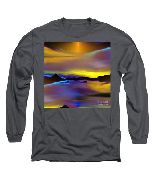 Long Sleeve T-Shirt featuring the painting Cebu Sunset by Yul Olaivar