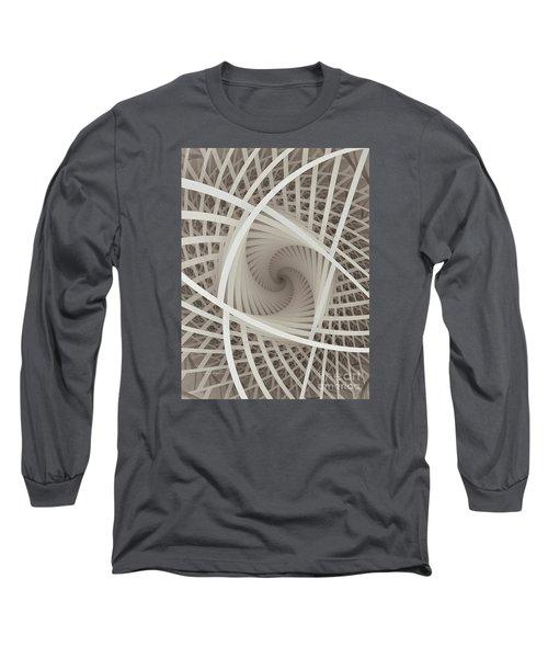 Centered White Spiral-fractal Art Long Sleeve T-Shirt by Karin Kuhlmann