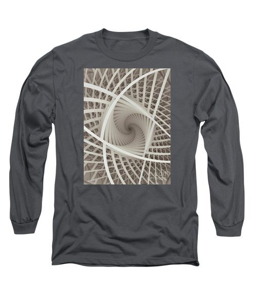 Centered White Spiral-fractal Art Long Sleeve T-Shirt