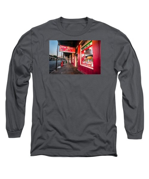Long Sleeve T-Shirt featuring the photograph Central Grocery And Deli In New Orleans by Andy Crawford