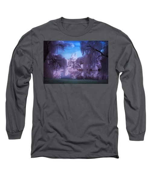 Central Park Lake Willows Color Long Sleeve T-Shirt