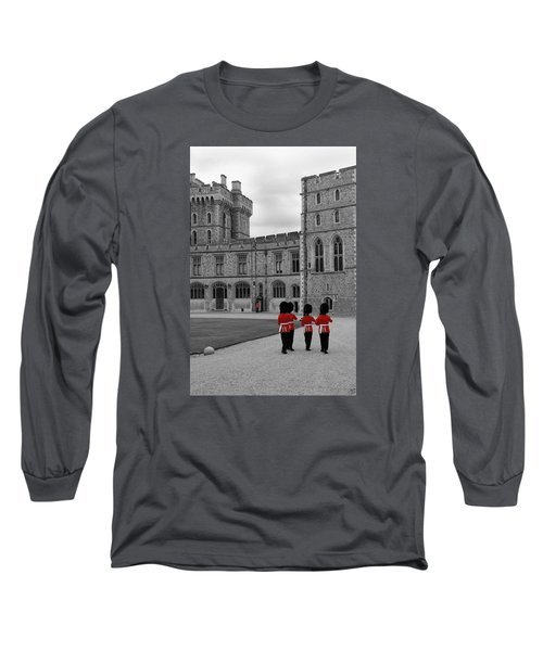 Changing Of The Guard At Windsor Castle Long Sleeve T-Shirt by Lisa Knechtel