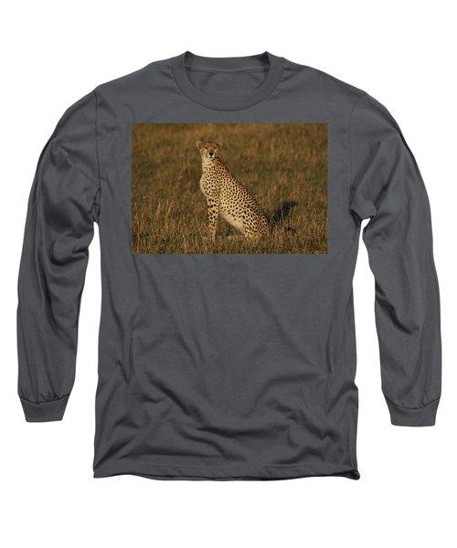 Cheetah On Savanna Masai Mara Kenya Long Sleeve T-Shirt