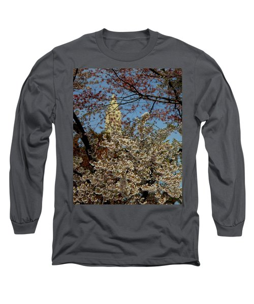 Cherry Blossoms And The Monument Long Sleeve T-Shirt