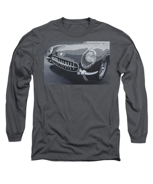 Long Sleeve T-Shirt featuring the painting Chevrolet Corvette 1954 by Anna Ruzsan