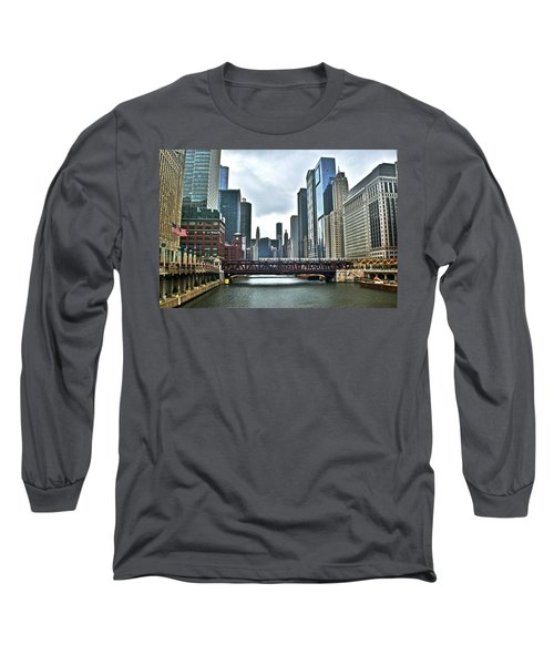 Chicago River And City Long Sleeve T-Shirt