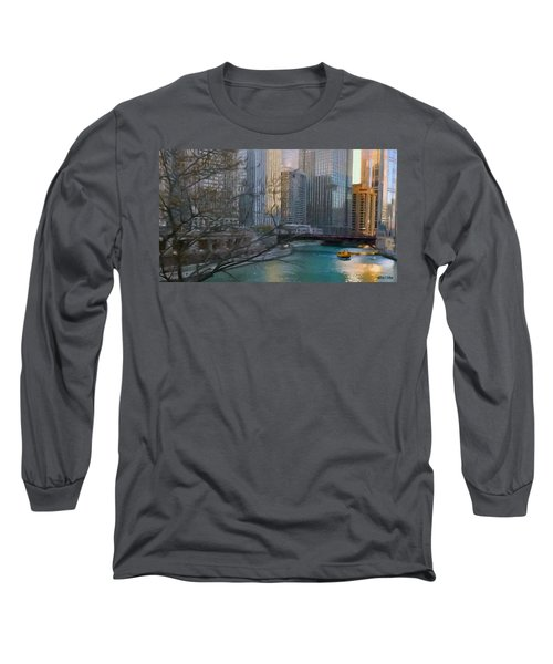 Chicago River Sunset Long Sleeve T-Shirt by Jeff Kolker