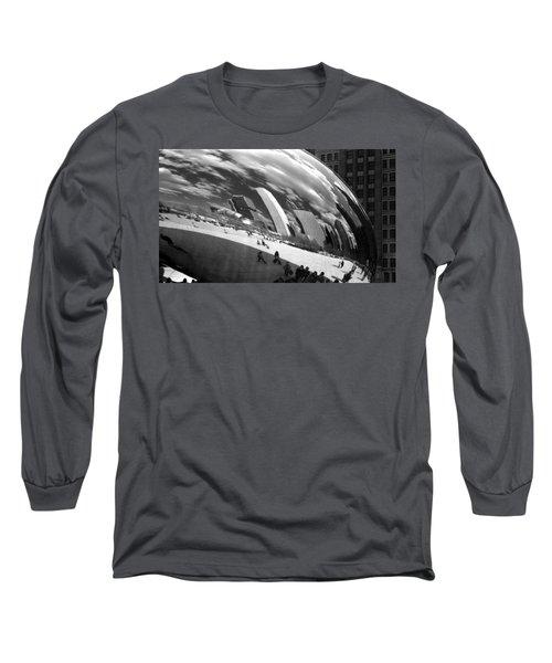 Chicago Skyline Reflected Bean Long Sleeve T-Shirt