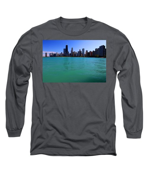 Chicago Skyline Teal Water Long Sleeve T-Shirt