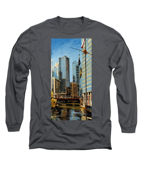 Chicago - The River From The East Long Sleeve T-Shirt