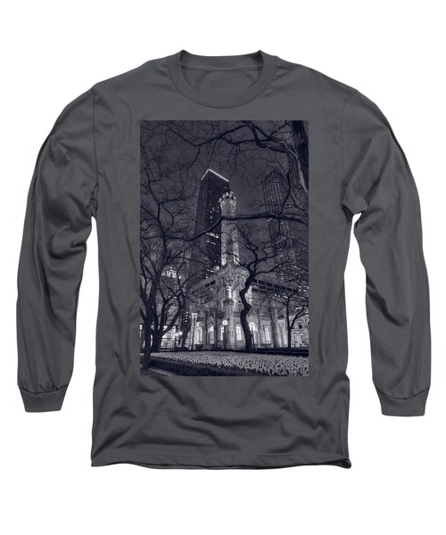 Chicago Water Tower Dusk B W Long Sleeve T-Shirt