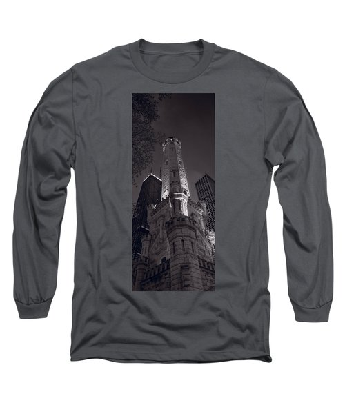 Chicago Water Tower Panorama B W Long Sleeve T-Shirt