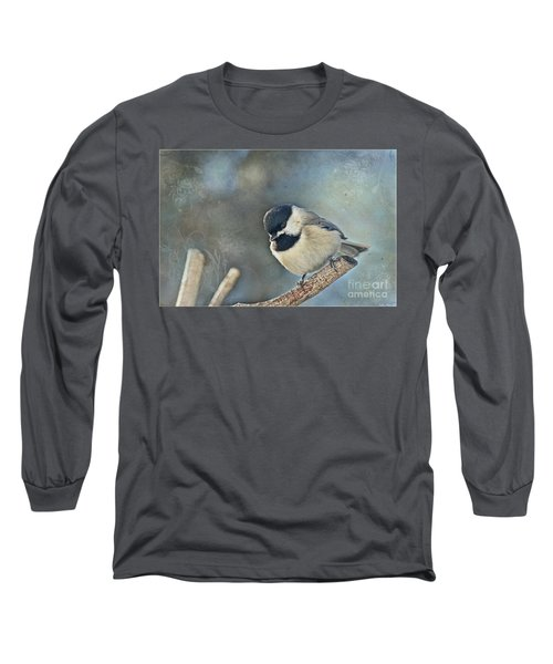 Chickadee With Texture Long Sleeve T-Shirt by Debbie Portwood