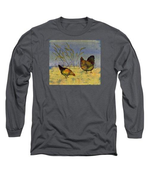 Chickens On Silk Long Sleeve T-Shirt by Carolyn Doe