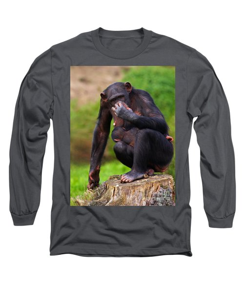Chimp With A Baby On Her Belly  Long Sleeve T-Shirt