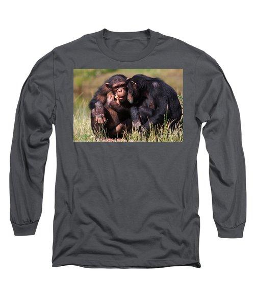 Chimpanzees Eating A Carrot Long Sleeve T-Shirt by Nick  Biemans