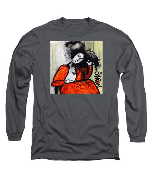 Long Sleeve T-Shirt featuring the drawing Chloe by Helen Syron