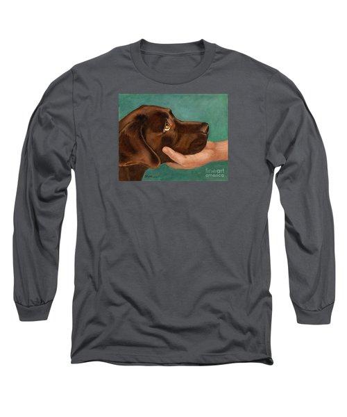 Chocolate Lab Head In Hand Long Sleeve T-Shirt
