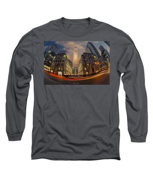 Long Sleeve T-Shirt featuring the photograph Christmas At Rockefeller Center by Susan Candelario