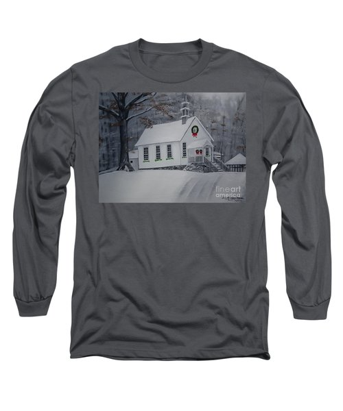 Long Sleeve T-Shirt featuring the painting Christmas Card - Snow - Gates Chapel by Jan Dappen